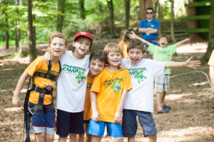 group of boy campers smiling