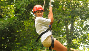 girl on the ropes course